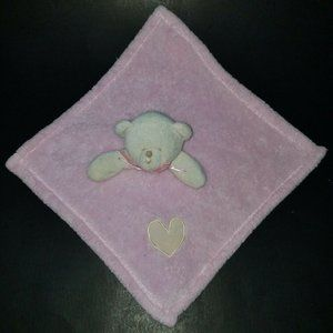 Pink Teddy Bear Lovey Tan Heart Plush Baby Toy